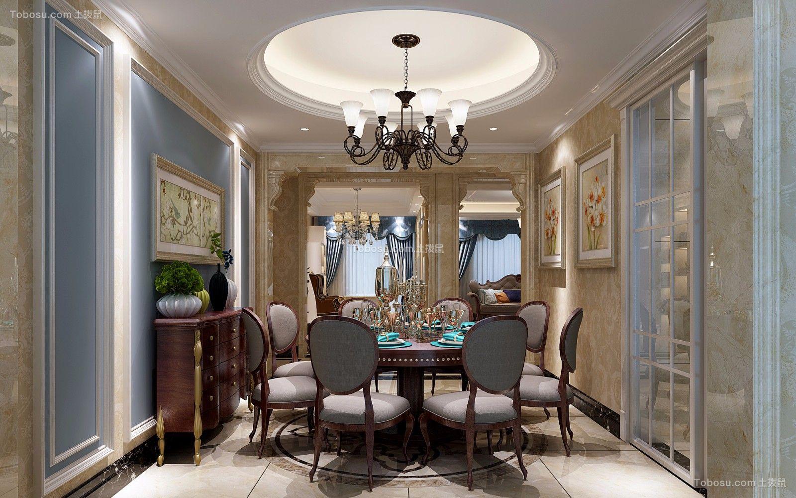 庄重咖啡色餐桌装饰效果图