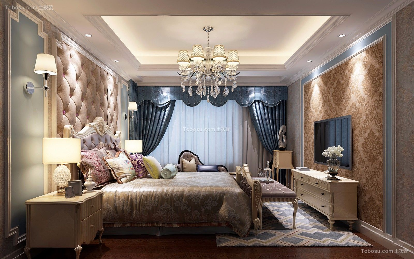 卧室白色电视柜美式风格装潢设计图片