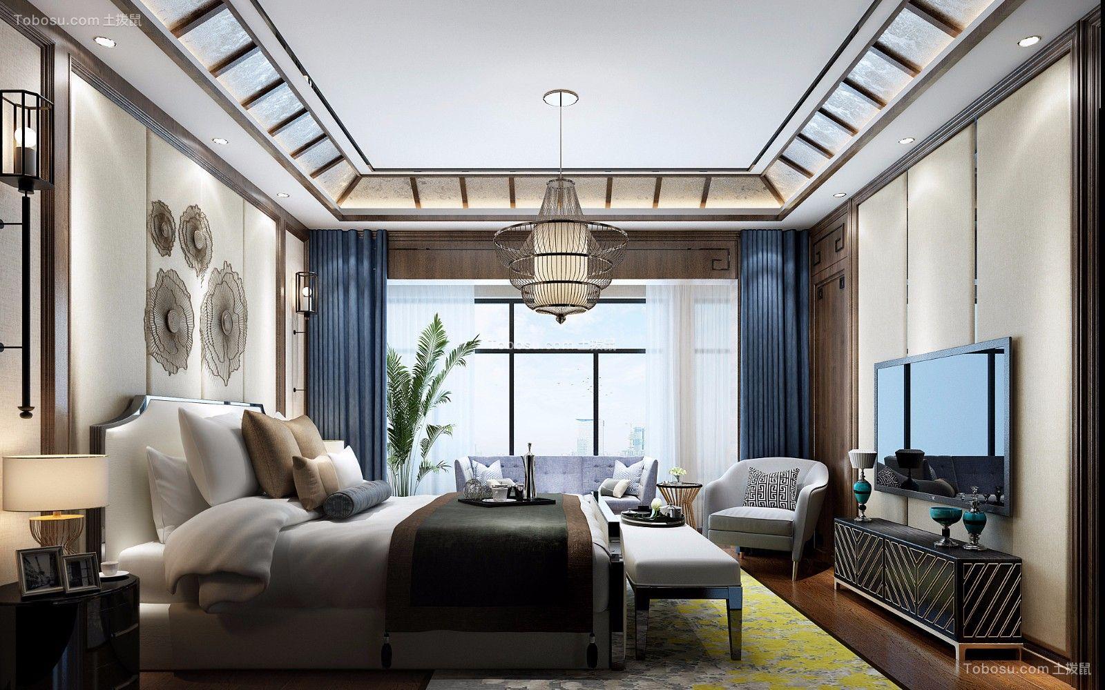 卧室蓝色窗帘新中式风格装修效果图