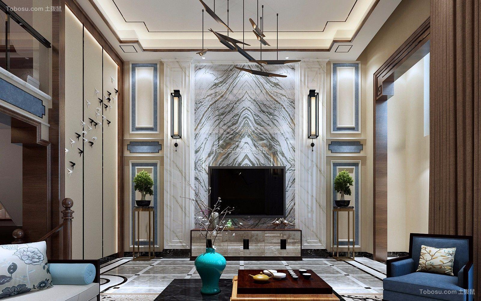 客厅咖啡色茶几新中式风格装修图片
