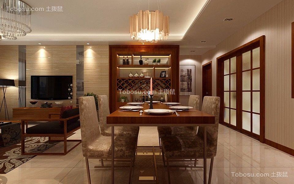 餐厅咖啡色餐桌现代简约风格装饰效果图