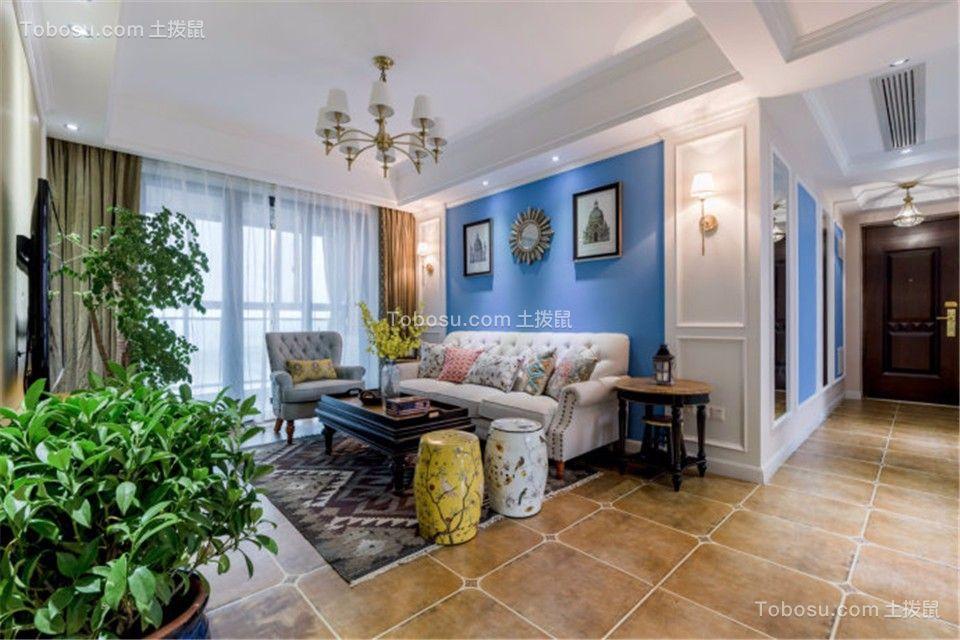 客厅白色灯具美式风格装修设计图片
