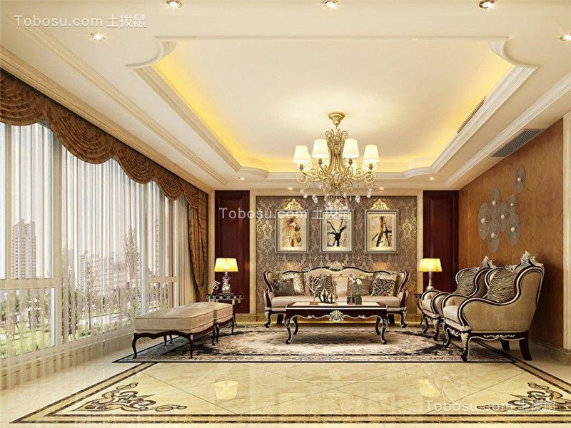 新古典客厅窗帘装饰实景图