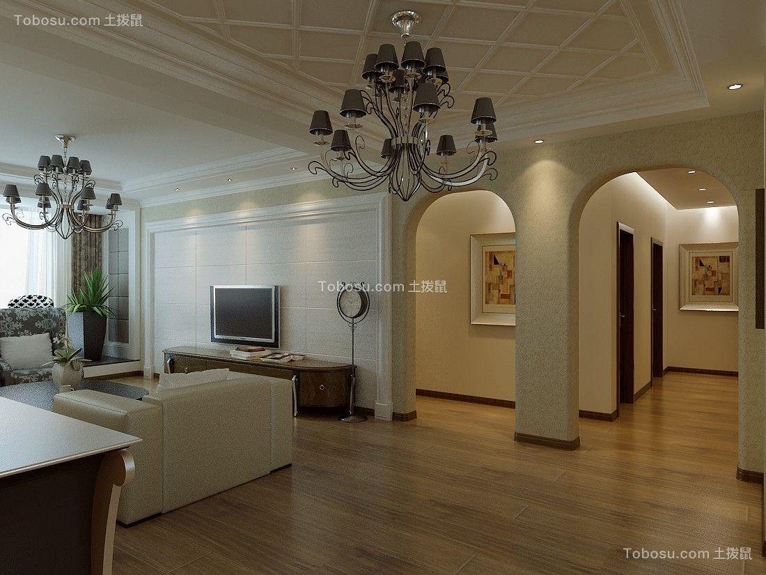 客厅白色灯具简欧风格装饰图片