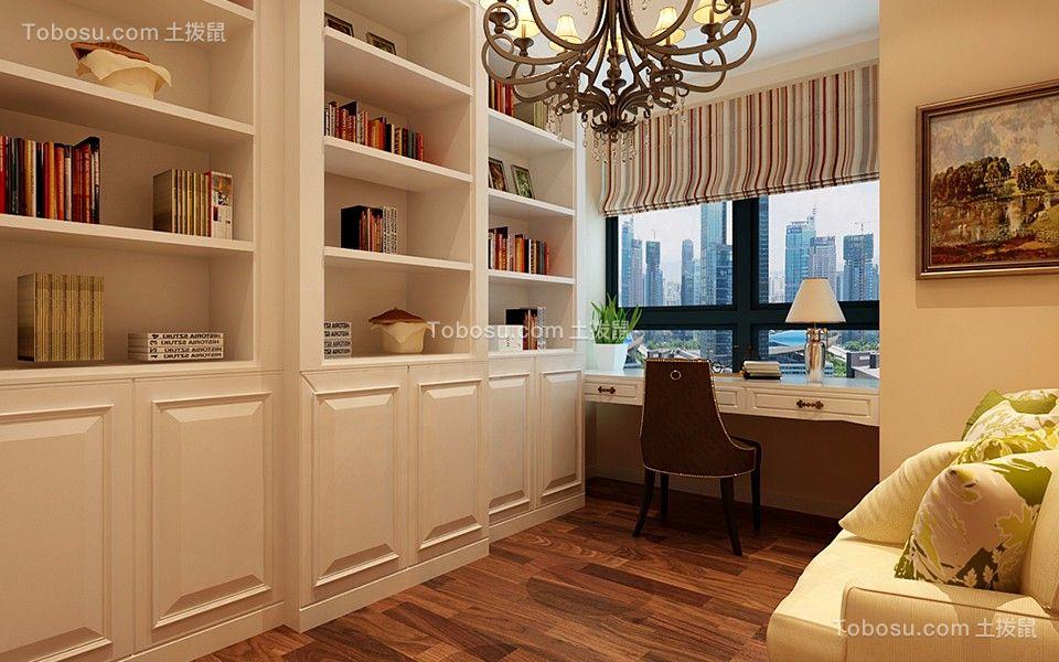 书房白色书桌现代欧式风格装修设计图片