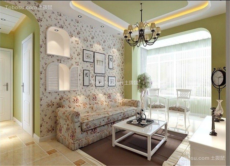 客厅 电视柜_田园风格70平米两室两厅新房装修效果图