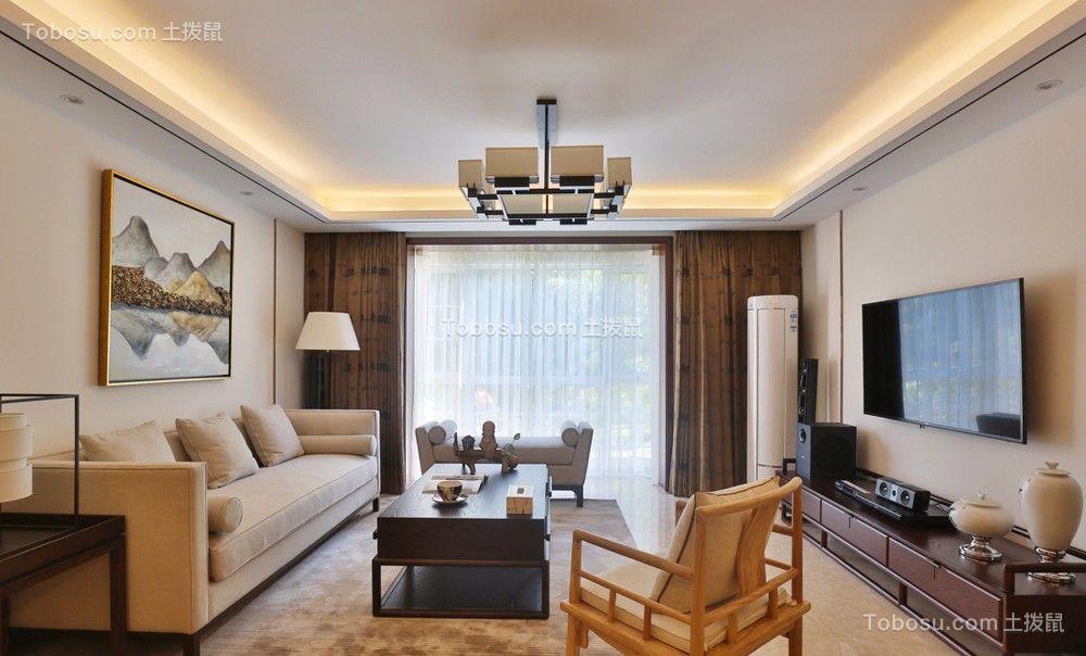 客厅 电视柜_新中式风格170平米四室两厅新房装修效果图图片
