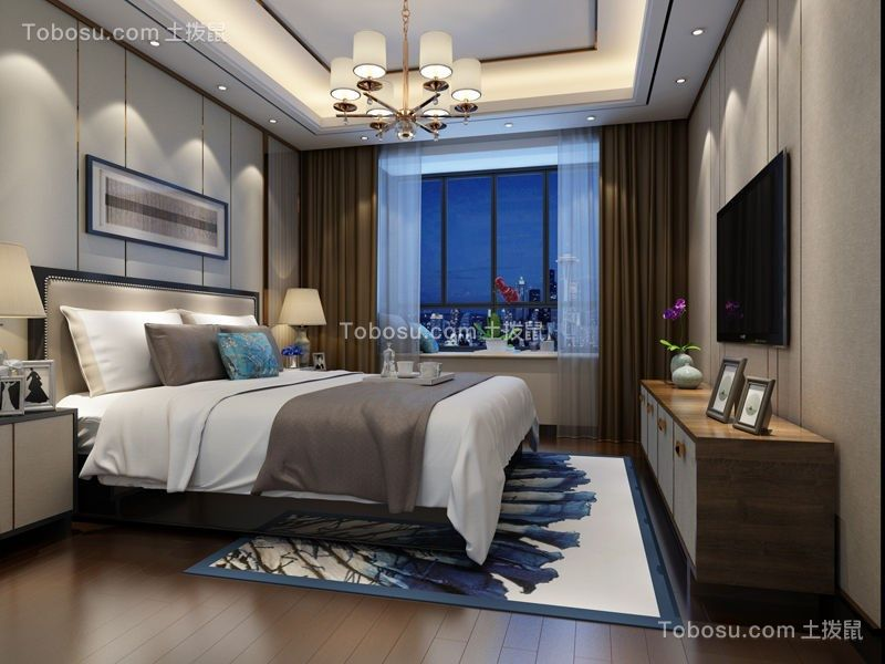 卧室咖啡色电视柜新中式风格装潢效果图