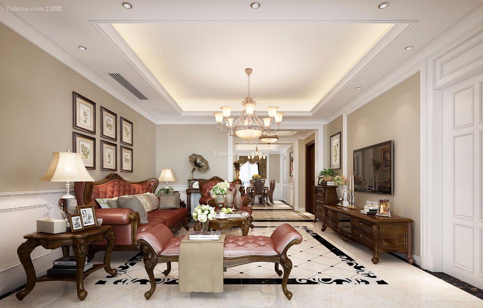 美式风格160平米大户型新房装修效果图