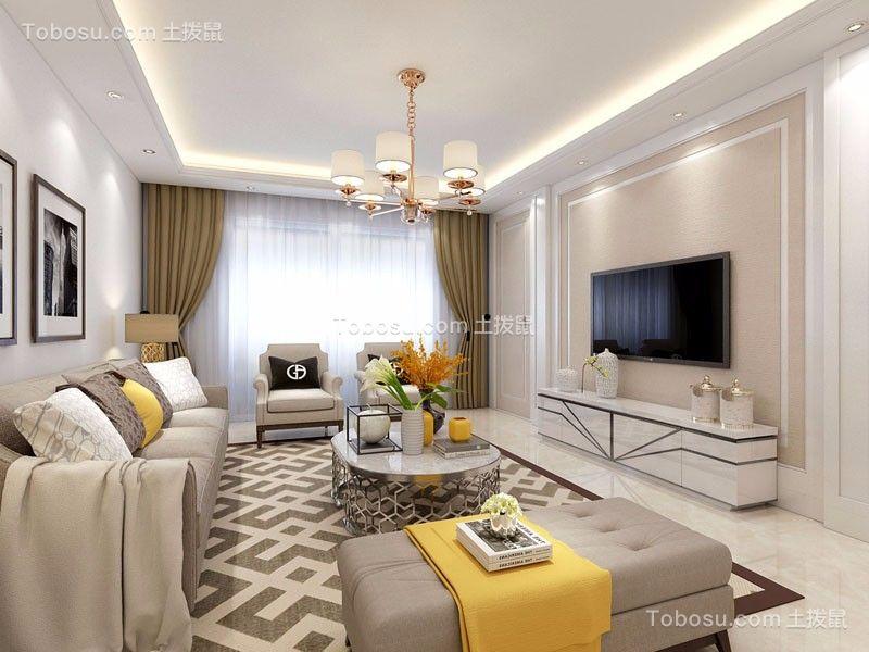 现代简约风格124平米三室两厅新房装修效果图