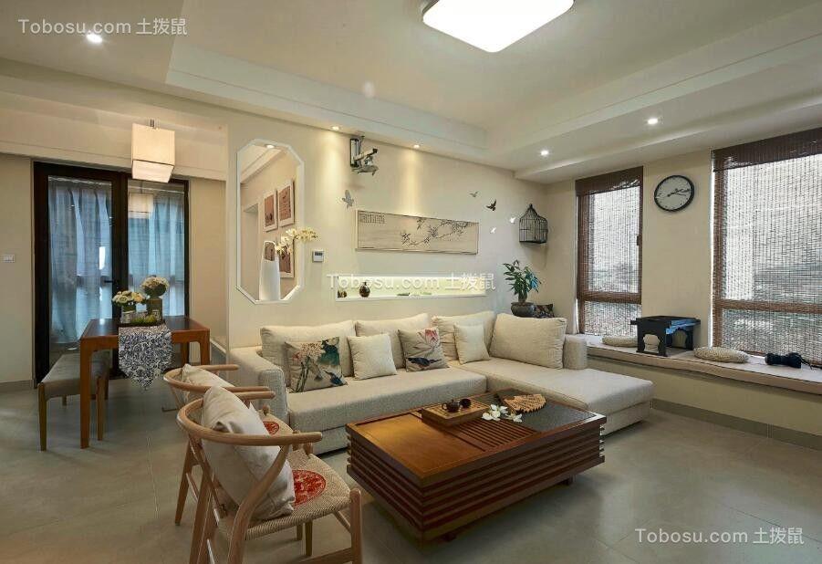 新中式风格86平米两室两厅新房装修效果图