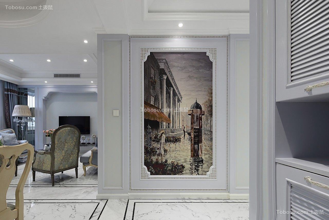 玄关米色背景墙简欧风格装饰效果图