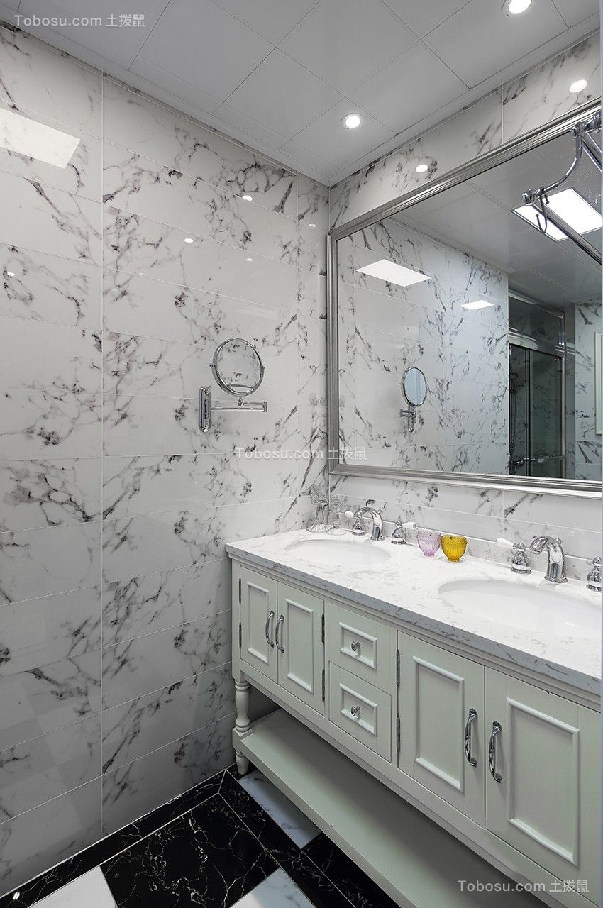 卫生间灰色洗漱台简欧风格装潢设计图片