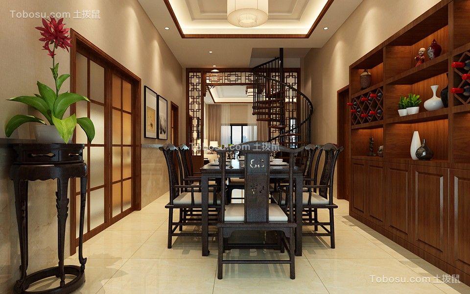 新中式风格96平米两室两厅新房装修效果图