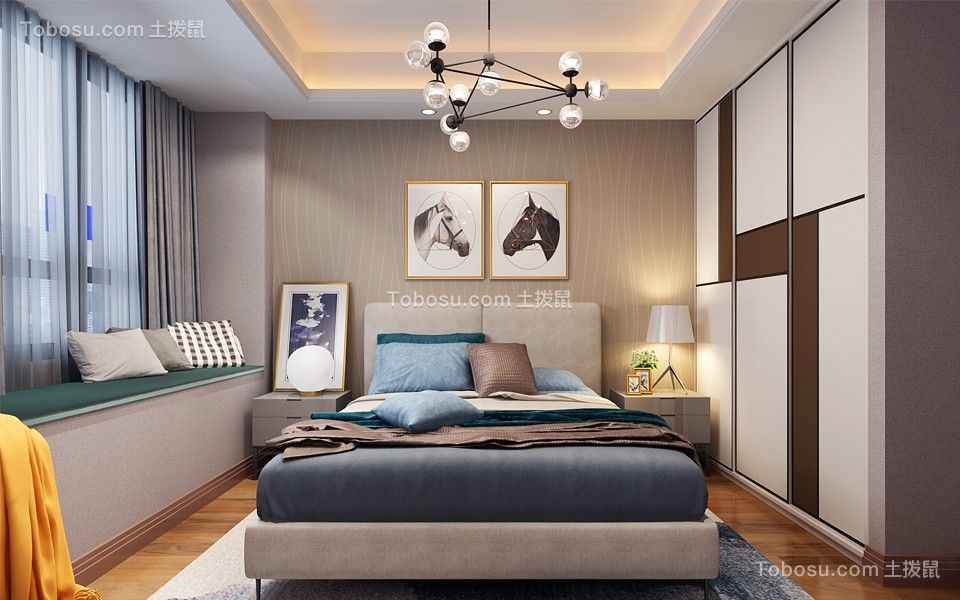 现代简约风格109平米三室两厅新房装修效果图
