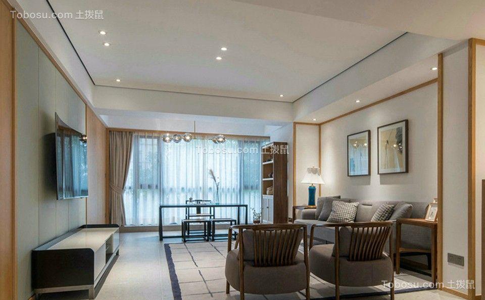 新中式风格112平米三室两厅新房装修效果图