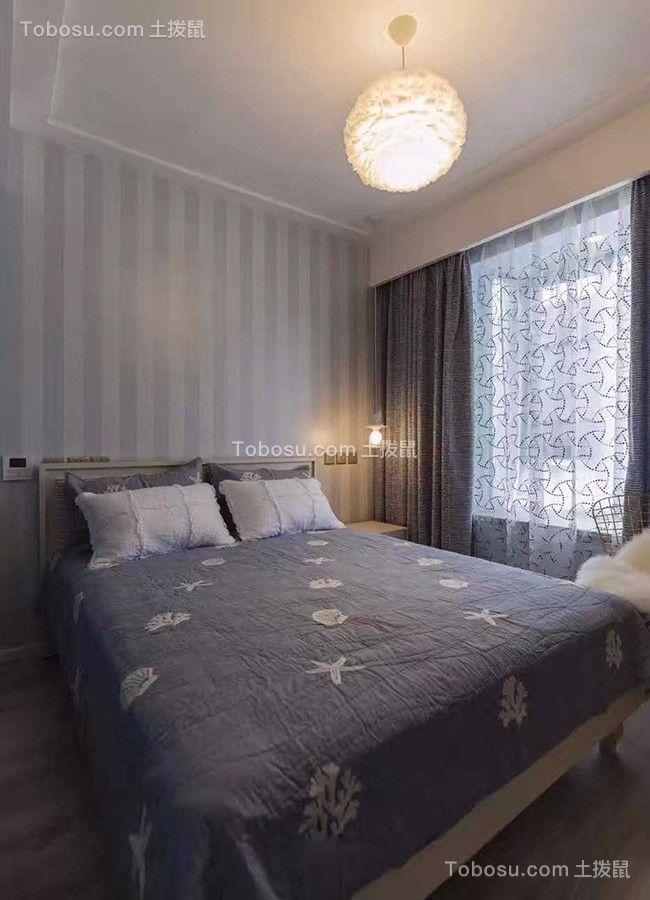 卧室灰色窗帘现代风格装饰设计图片