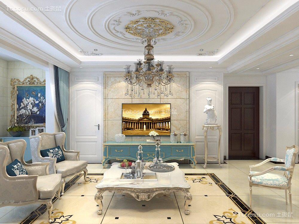 客厅蓝色电视柜欧式风格装潢设计图片