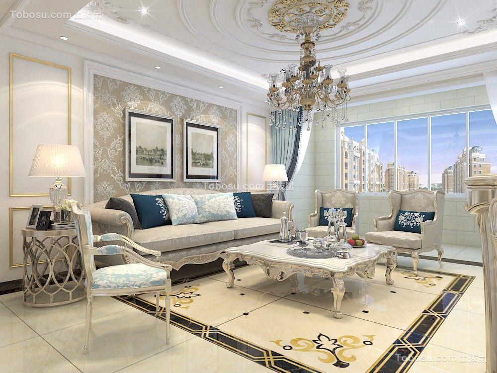 客厅蓝色窗帘欧式风格装修效果图