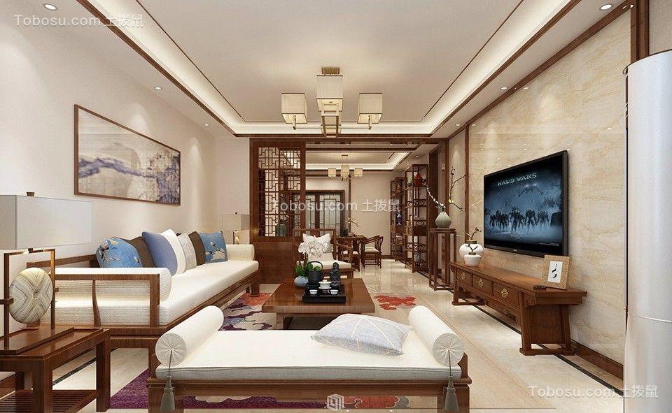新中式风格109平米三室两厅新房装修效果图