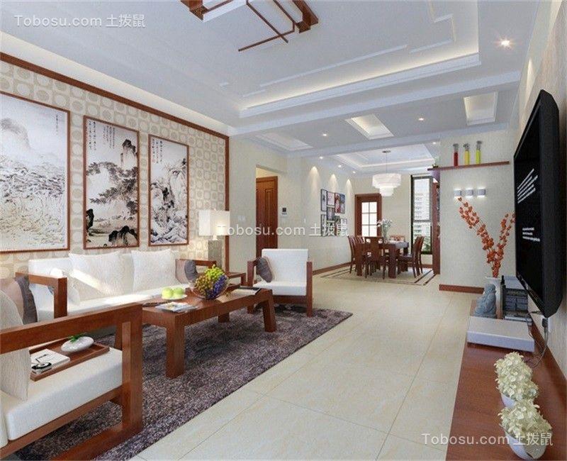 天津海昌天澜123平米中式风格效果图
