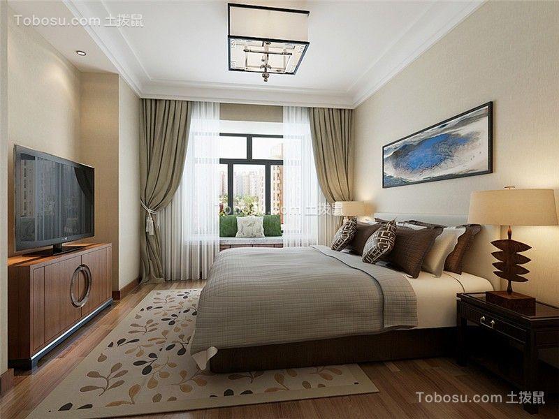 卧室咖啡色电视柜新中式风格装饰效果图