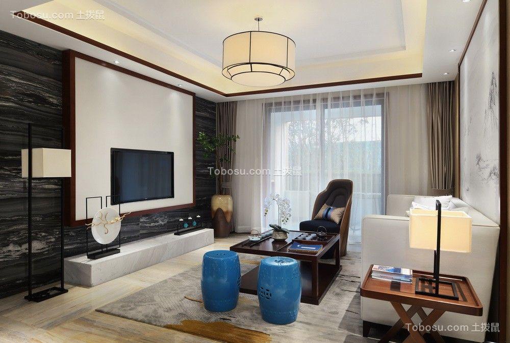 新中式风格115平米三室两厅新房装修效果图
