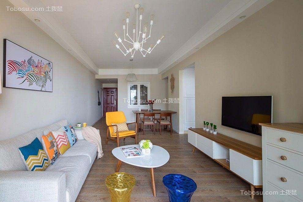 北大资源燕南86平现代风格三居室装修效果图