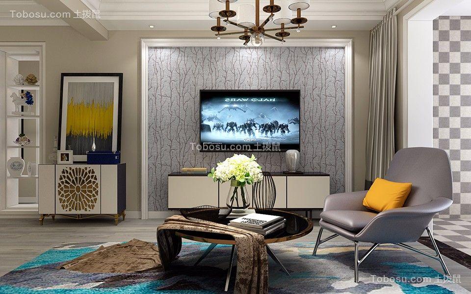 客厅白色电视背景墙现代简约风格装修图片