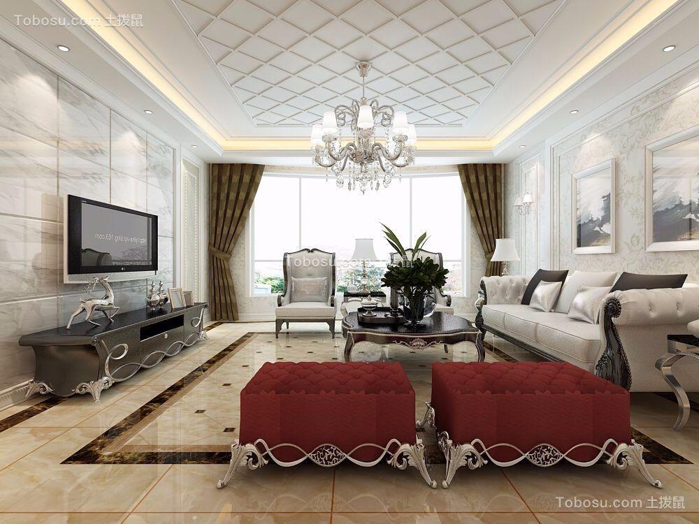 中式风格120平米三室两厅新房装修效果图图片