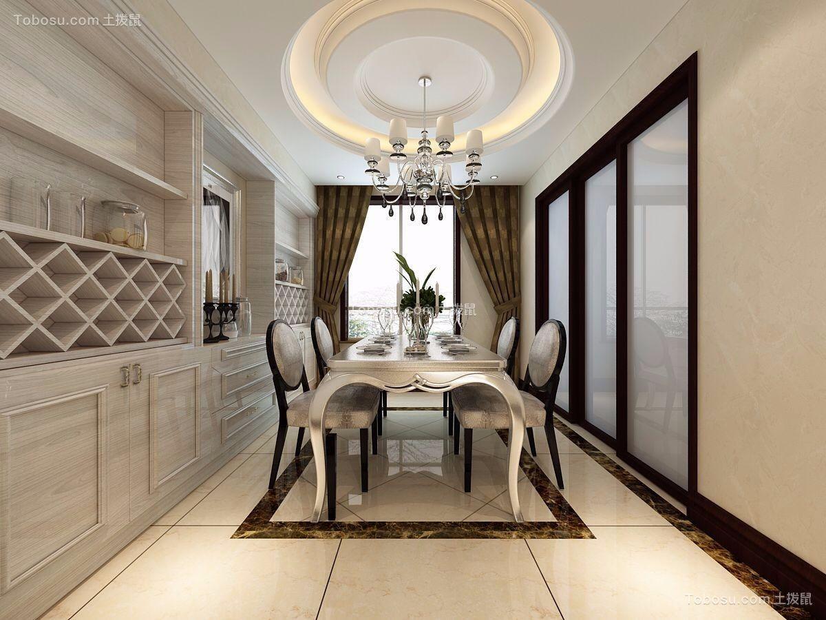 餐厅白色餐桌简欧风格装潢图片