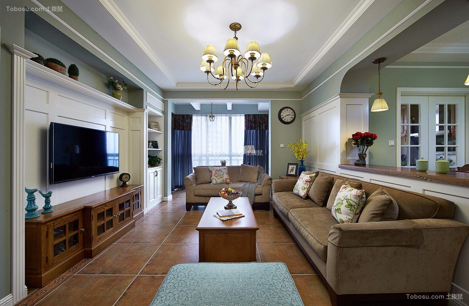 美式风格132平米四室两厅新房装修效果图