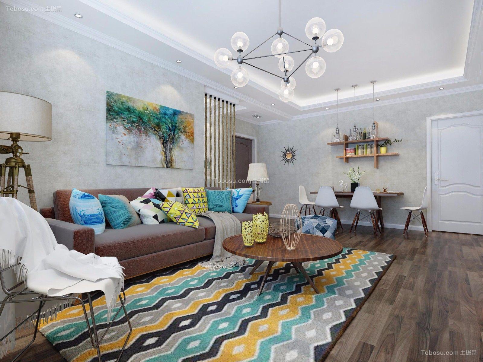 客厅黄色沙发现代简约风格装饰设计图片