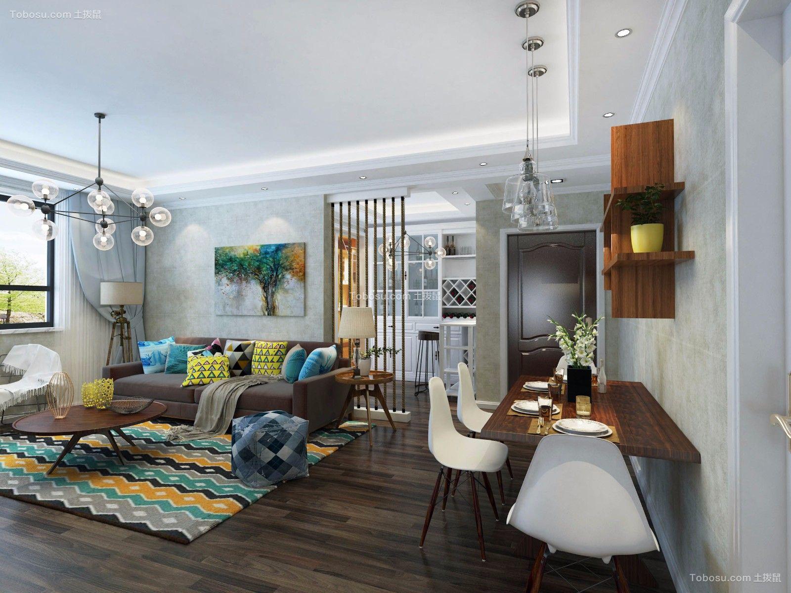 客厅咖啡色地砖现代简约风格装潢设计图片