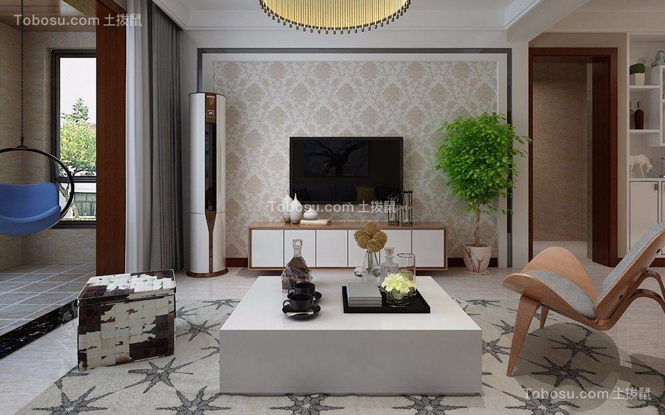 现代简约风格89平米两室两厅新房装修效果图