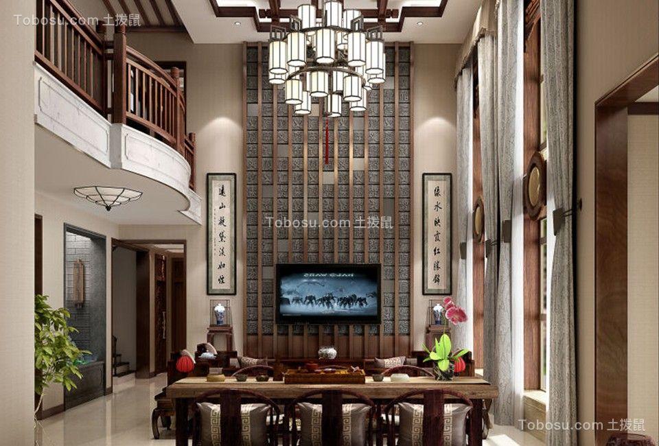 中式风格400平米别墅新房装修效果图