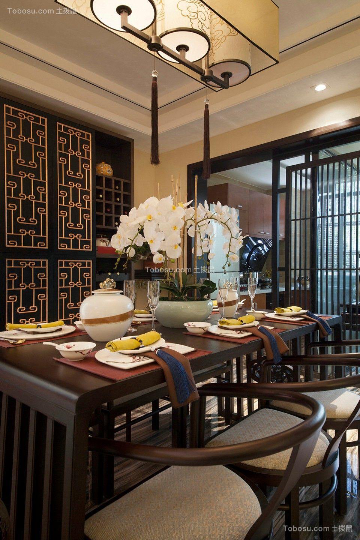 餐厅白色灯具新中式风格装潢效果图