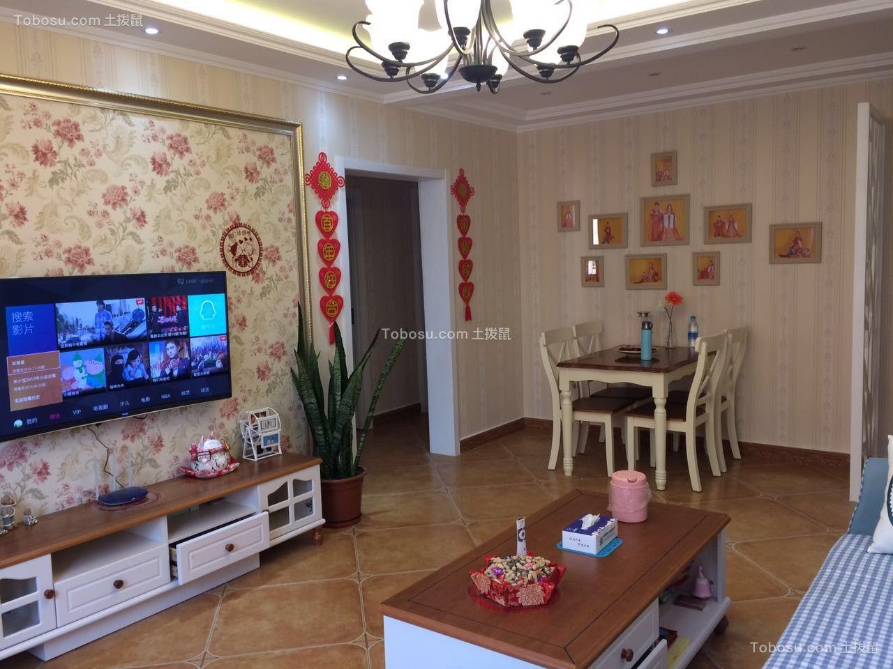 首尔甜城星河园86平美式风格两居室装修效果图