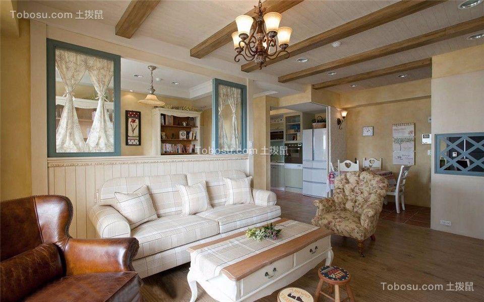 明尚西苑88平美式风格三室一厅一卫装修效果图