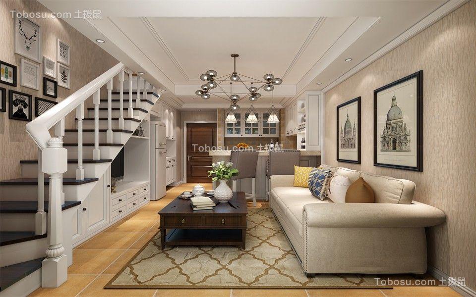 美式风格88平米复式室内装修效果图