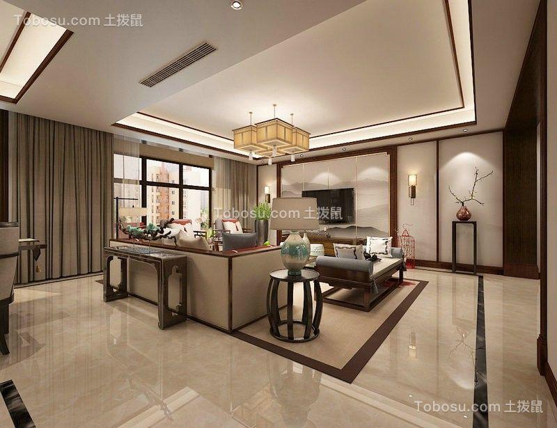 139平米新中式风格三室两厅两卫装修效果图