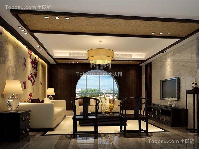 东方蓝海127平中式风格四居室装修效果图案例