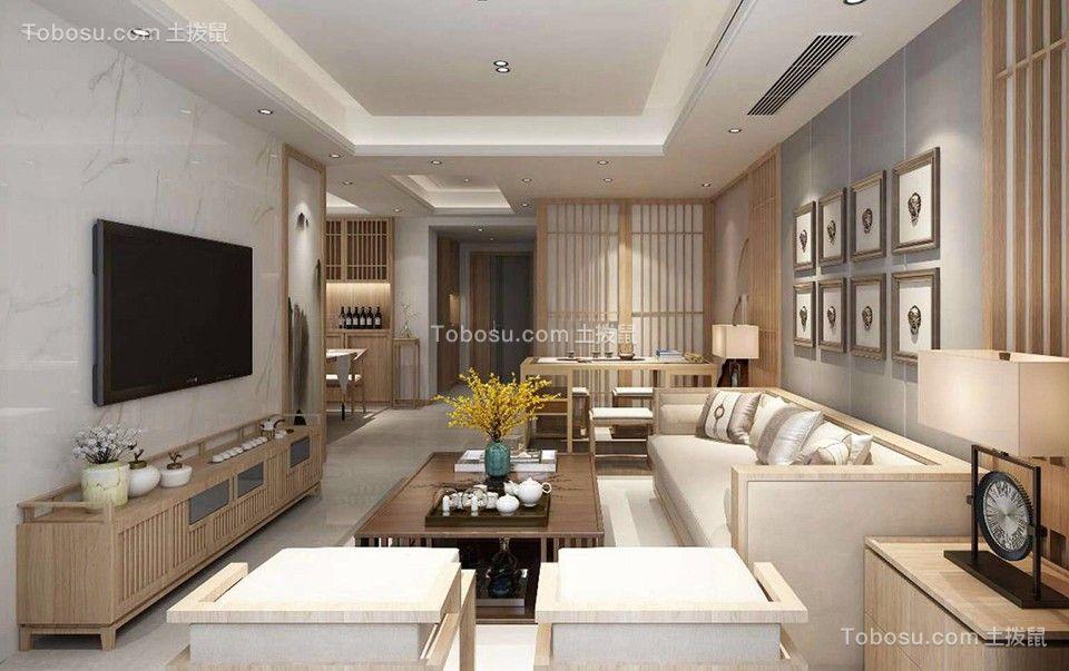 日式风格116平米三室两厅新房装修效果图