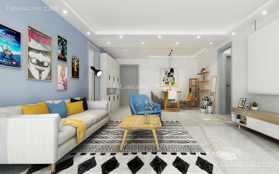 北欧风格160平米三室两厅新房装修效果图