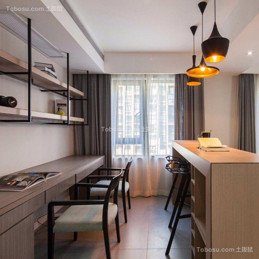 客厅咖啡色书桌简约风格装潢设计图片