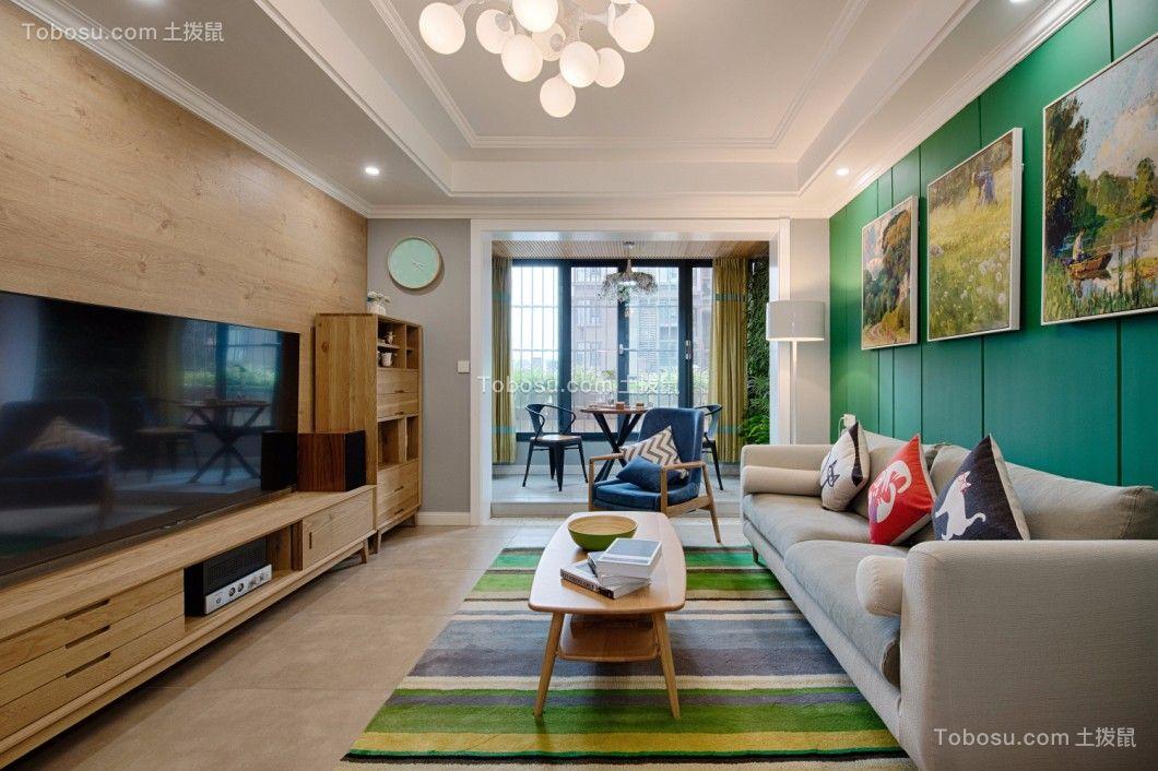 客厅绿色背景墙乡村风格装饰图片