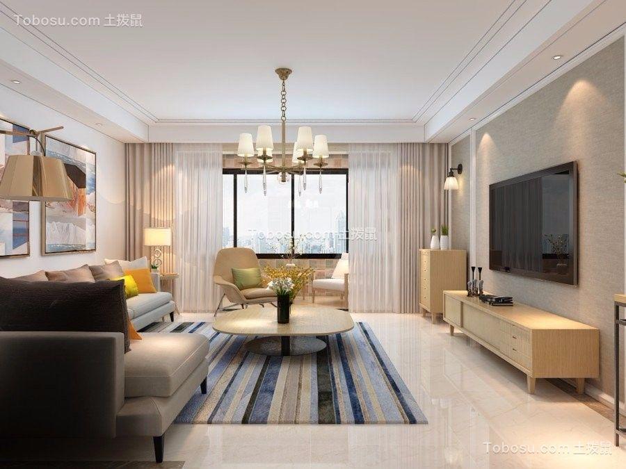 常州梧桐香郡118平米现代简约风格二居室装修效果图