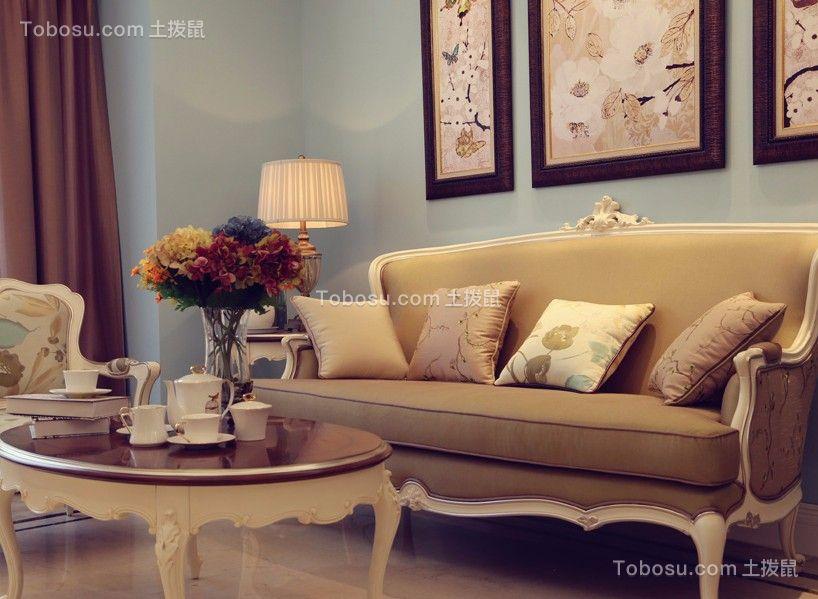 76平美式风格三居室装修效果图