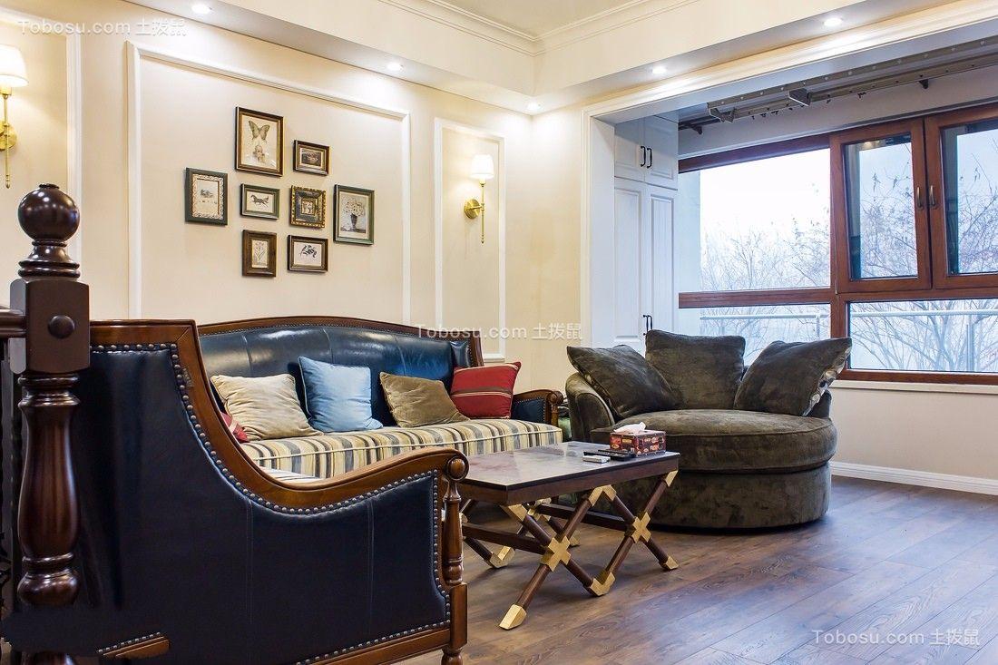 美式风格90平米楼房室内装修效果图