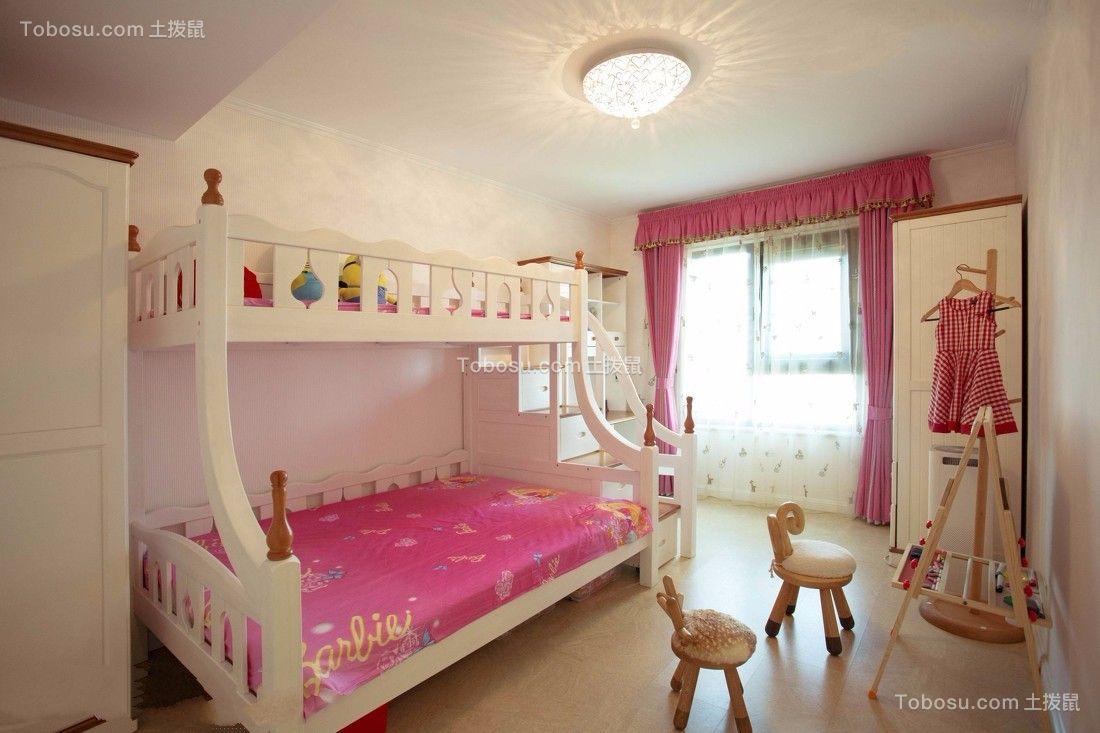 儿童房粉色窗帘欧式风格装潢图片